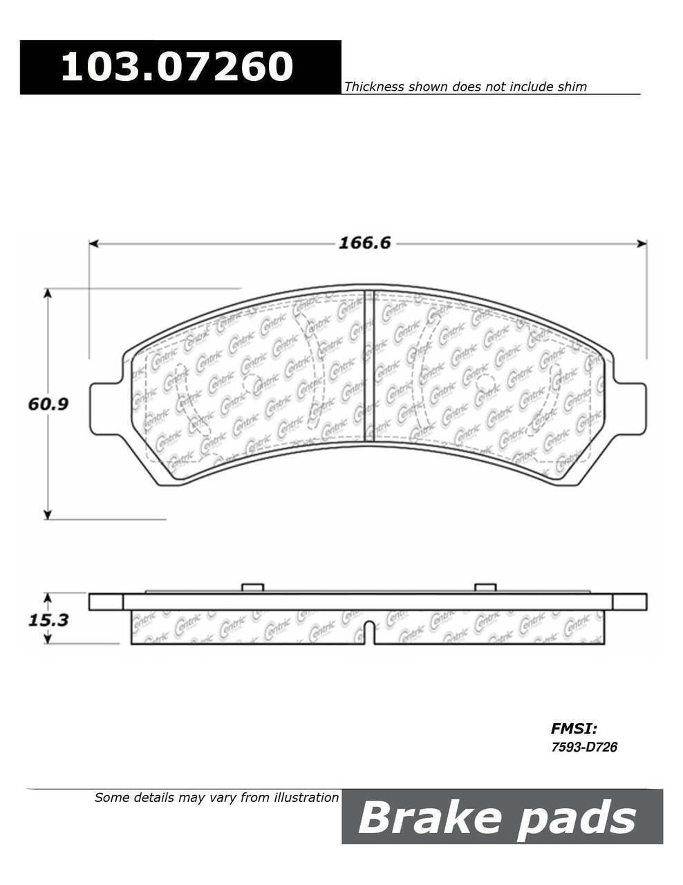 Centric Front Brake Pads 106.07260