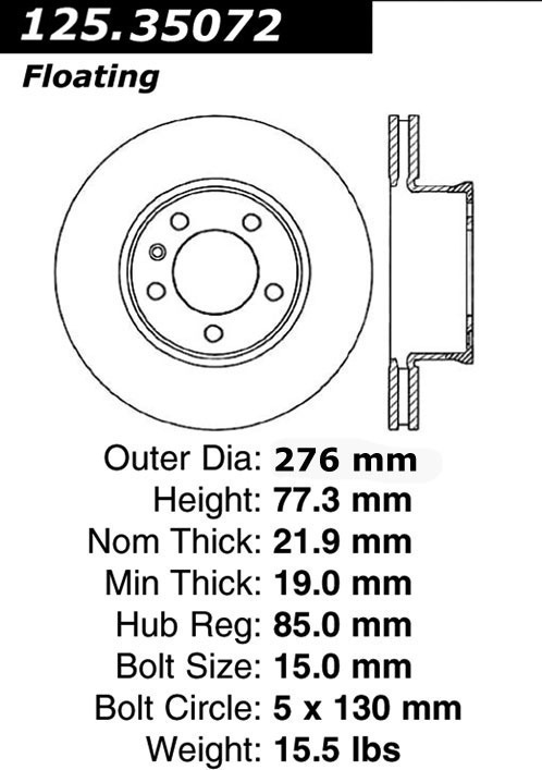 128.33120CL Brake Rotor Power Slot StopTech